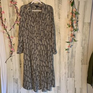 Who.What.Wear Black & Cream Print Dress